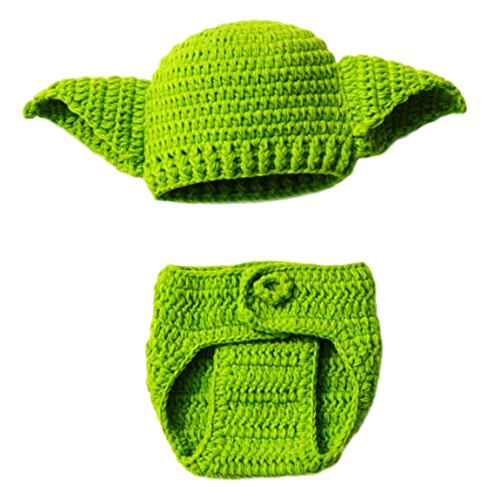 Star Wars Yoda Hand Knit Diaper and Hat Cover Set for Babies 0-6 ()