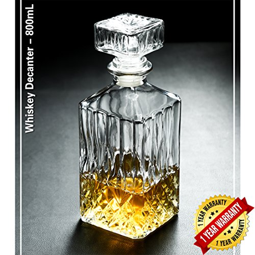 Classic Whiskey Decanter Square Carafe Crystal Glass Red Wine Decanter Bottle 1000ml (11.02x3.54 (700g Bottle)