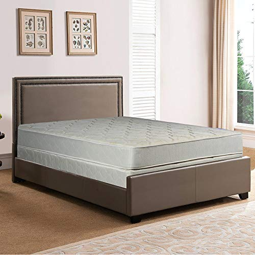 Spring Solution, 9-Inch Gentle Firm Tight top Innerspring Mattress And Wood Traditional Box Spring/Foundation Set, Good For The Back, No Assembly Required, Full Size 74