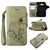 Appliances : Galaxy J3 2016 Protective Case, UNEXTATI Vintage Rose Pattern Stand PU Leather Flip Cover, Wallet Case Cover with Hand Strap for Samsung Galaxy J3 2016 (Light Green)