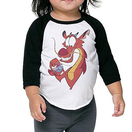 LOVEGIFTTO Child/Infant Cartoon Mulan Funny Mushu O-Neck 3/4 Sleeve Raglan Tee Shirt 4 Toddler