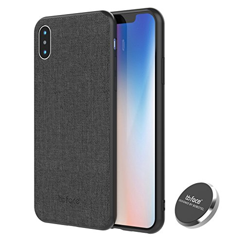 Magnetic Case iPhone X Case, Slim Fabric Pattern PU Leather Pressed Protective Back Cover Defender Case with Embedded Magnet for Car Mounts - 5.8 inch, Black,Released 2018
