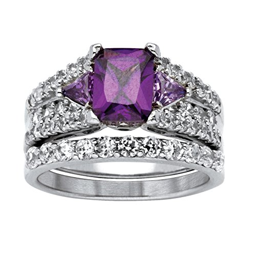 - Emerald-Cut Purple Cubic Zirconia .925 Sterling Silver 2-Piece Bridal Ring Set with White CZ Accents