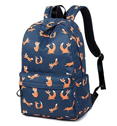 Joymoze Retro Colorful Print Trendy Backpack for women Cute Schoolbag for Girl Dark Blue Fox (Fox Backpack Blue)