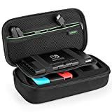 UGREEN Carrying Case for Nintendo Switch, W/Carved Protective Foam Lining, Shockproof Travel Case Bag for Nintendo Switch Console, AC Wall Charger, Grip and Joy-con, 10 Game Cards, Strap and Cables