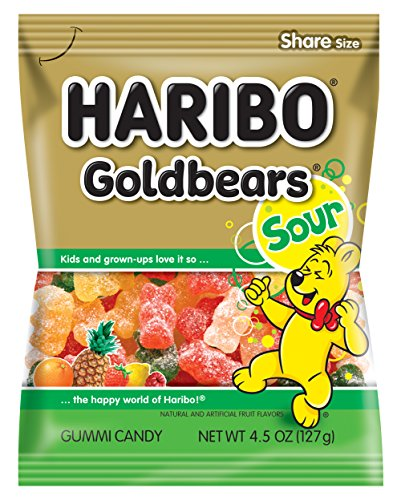 Haribo Gummi Candy, Goldbears Gummi Candy, Sour, 4.5 oz. Bag (Pack of 12)