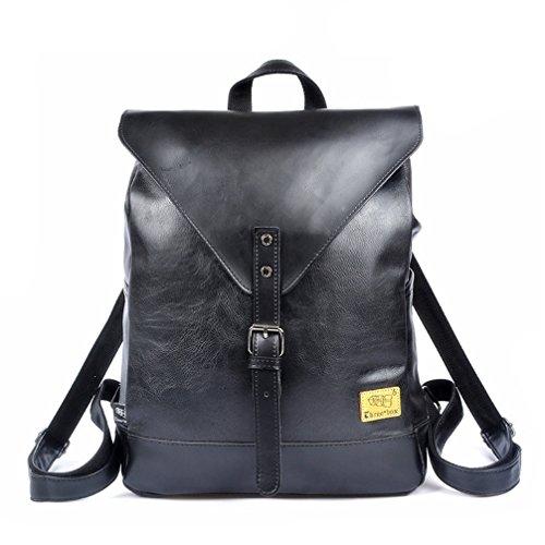 Las mujeres de moda la Escuela de Negocios de cuero mochila portátil grande Bolsa Bolsa de viaje de compras Negro
