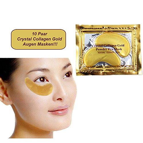 10 Paar Golden Eye Collagen Augen Maske - Top Tipp gegen Tränensäcke mit Hyaluronsäure!!! Beste Qualität von Schlupflid weg®