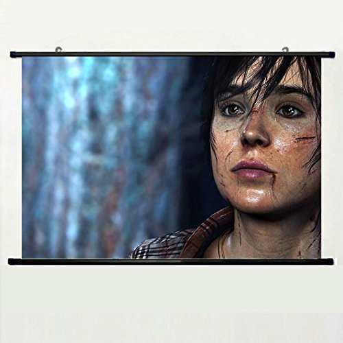 wall-scroll-poster-with-beyond-quantic-dream-juno-game-ellen-page-brunette-wounds-eyes-blood-shirt-h