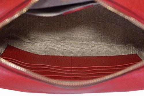 c747a1add42 Gucci Women s Canvas Leather GG Guccissima Small Bree Crossbody Purse (Beige  Red)