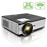 CAIWEI Updated WiFi Wireless LED Video Projector 3000 Lumens Support HD 1080P Native 1024x768 With HDMI USB VGA TV LCD Pro Projector for Home Theater Cinema Video Games Use Ipad iPhone Laptop Xbox