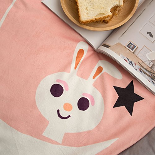 HugeHug Cartoon Soft Fenced Kids Play Mat Floor Area Rugs for Bed and Game Rooms, Reading Nook, Video Games or Watching TV, Thick Non-Toxic Softer Fluffy Round 60 inches for Babies Girls Boys(Rabbit) by HugeHug (Image #3)