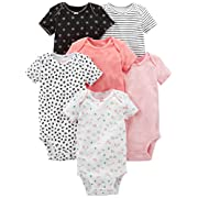 Simple Joys by Carter's Baby Girls' 6-Pack Short-Sleeve Bodysuit, Pink, Black/White, Newborn