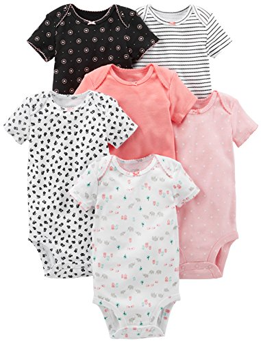 Simple Joys by Carter's Baby Girls' 6-Pack Short-Sleeve Bodysuit, Pink, Black/White, 0-3 ()