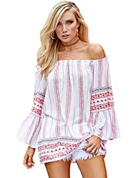 Off Shoulder Tunic with Ruffle Sleeves One Size