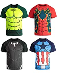 Avengers Boys 4 Pack T-Shirts Black Panther Hulk Spiderman Captain America