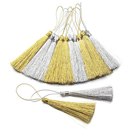 Gold Silver Keychain - 30pcs Gold and Silver Silky Soft Tassels with Cord Loop for Craft Projects Graduation Bookmark Keychain Earring Jewelry Making