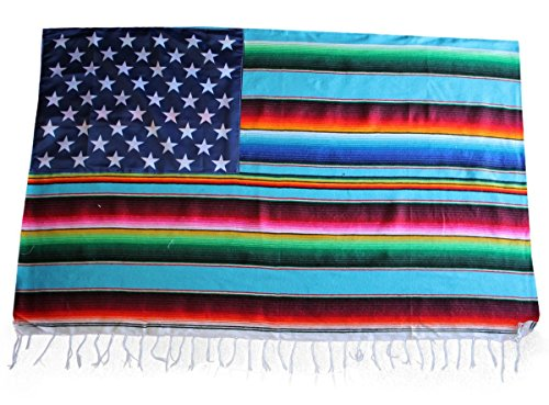 Del Mex Mexican Serape Blanket Flag Stars and Stripes (Turquoise)