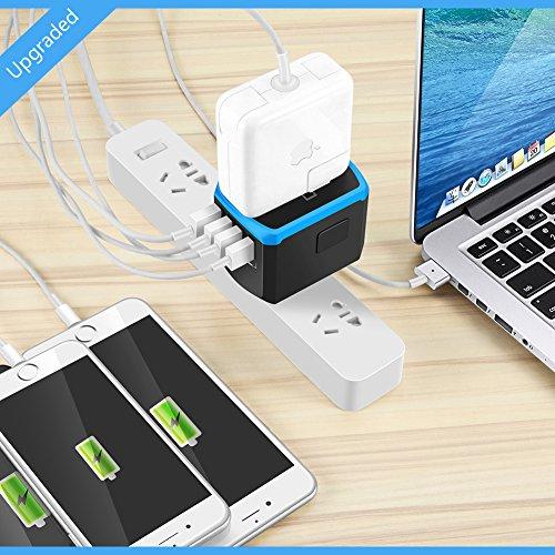 Universal Power Travel Adapter,RXSQUL International Power Adapter Smart 2.4A 4 USB, European Adapter Converter,Plugs Adapters Europe, Canada, UK, US, AU, Asia-Blue by RXSQUL (Image #4)