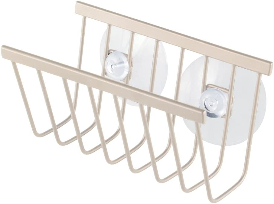 iDesign Gia Kitchen Sink Suction Holder for Sponges, Scrubbers, Soap - Satin