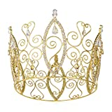 DcZeRong Women Birthday Queen Crowns Cake Topper Gold Full Round Princess Costume Prom Tiara Crown Gift Box Packed Amazing Personality Pageant Queen Rhinestone Crown Gold