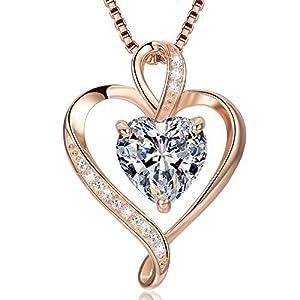 Collier Coeur pour Femme Argent Sterling 925 Or Rose Pendentif D'amour pour Femme Colliers Cadeaux pour Femme Cadeau de…
