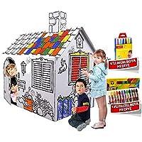 Büyük Boyama Evi - Zeka Geliştirici ve Eğitici Karton Ev-Oyun Evi