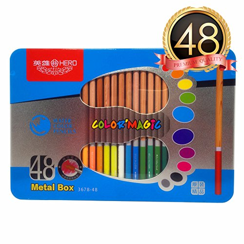 (48-Blue-Tin) - HERO Watercolour Pencils Set of 48 With Blue Tin Case- For Sketch Colouring Pages And Books (Free Brush Included) B01J4NZ788  48-Blue-Tin