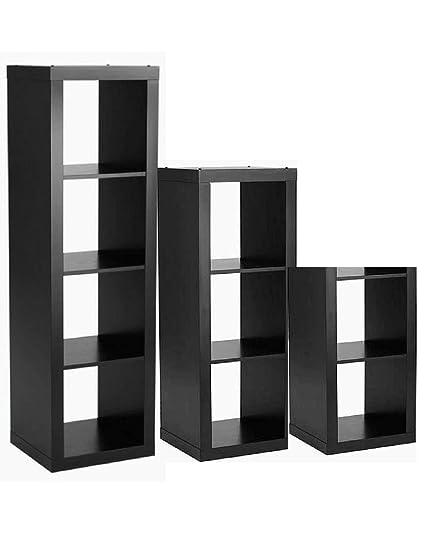 Better Homes And Gardens 3 Piece Cube Organizer Storage Bookshelf In Solid Black Bundle Set