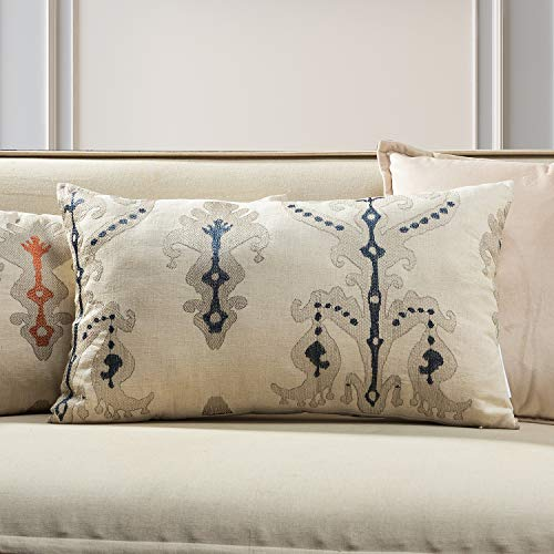 TINA'S HOME Calico Embroidery Lumbar Pillow | Cotton Linen Oblong Pillow for Chair Bed Decor (14 x 20 inches, Indigo - Linens Oblong Bed Pillow