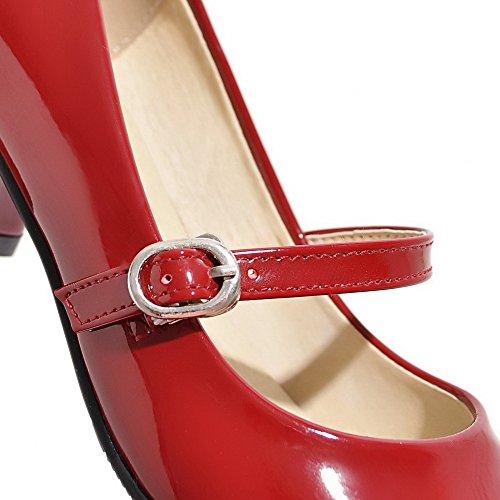 chaussures Pompes Femmes Voguezone009 Bout Bleu De Chaton Talons Pu Enfiler Rond 8zBqnAE