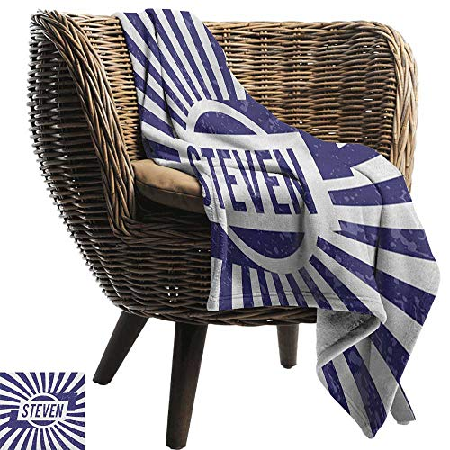 (Sunnyhome Steven,Weave Pattern Extra Long Blanket,Common English First Name for Boys in Blue and White Retro Composition 60