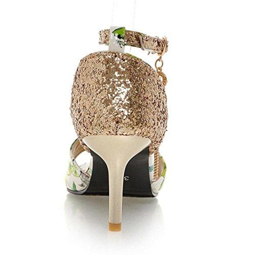 RAZAMAZA Mujer Moda Tacon de Aguja Peep Toe Correa de Tobillo Floral Sandalias Verde