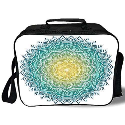 Mandala 3D Print Insulated Lunch Bag,Aquatic Color Mandala Pattern with Sun in Center Indian Art Meditation Zen,for Work/School/Picnic,Yellow Green ()