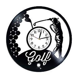 Kovides Golf Room Art Lp Vinyl Retro Record Wall Clock Exclusive Sport Gift Birthday Gift for Man Golf Clock Xmas Gift Idea for Fan Sport Art Wall Clock Modern