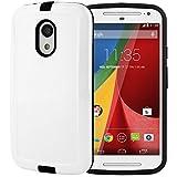 Moto G Case, Moto G 2nd Gen Case, CellJoy [Shell Armor] [White] **Shockproof** Protective Slim Hybrid Ultra Fit Hard Cover For Motorola Moto G XT1064