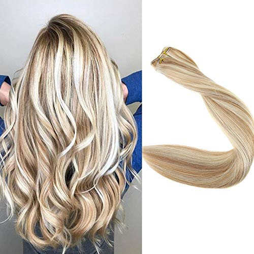 Full Shine 18 inch Remy Straight Weave Hair Bundles Color #10 Golden Brown And Color #613 Blonde Human Hair Sew in Extensions Full Head 100g Per Piece