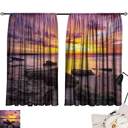 Anyangeight Beaded Curtain Tropical,Sunset at The Beach Horizon on Island Magical Idyllic Weather Landscape,Mauve Salmon Lilac 63