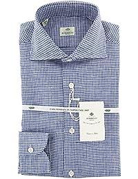 New Luigi Borrelli Dark Blue Micro-Check Extra Slim Shirt