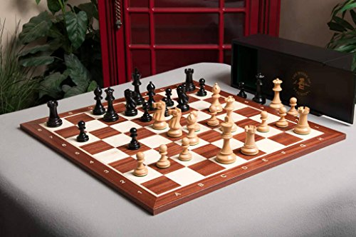 The Grandmaster Chess set, Box, and Board Combination - Ebonized Boxwood - by The House of Staunton