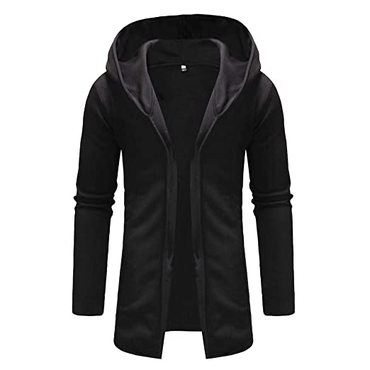 43d643bf2433 QBQCBB Men Splicing Hooded Solid Color Trench Coat Long Sleeve Cardigan  Outwear(Black