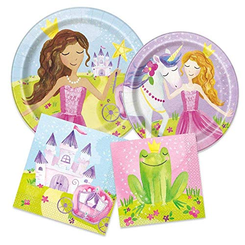 Princess Party Supplies - Fairy Tale Themed Paper Plates & Napkins for 16 Guests