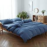 #5: FACE TWO FACE 3-piece Duvet Cover Queen,100% Washed Cotton Duvet Cover,Ultra Soft and Easy Care,Simple Style Bedding Set (QUEEN, Navy blue)