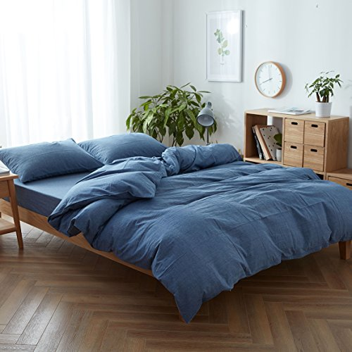 Duvet 100% Cotton Cover (FACE TWO FACE 3-piece Duvet Cover Queen,100% Washed Cotton Duvet Cover ,Ultra Soft and Easy Care,Simple Style Bedding Set (QUEEN, NZL))