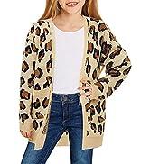 GRAPENT Girls Open Front Long Sleeve Cardigan Pockets Sweater Outwear 4-13 Years