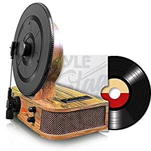 Pyle Turntable Bluetooth, Dual Built-in Stereo Speakers, 3 Stereo Speed Turntable: 33-1/3, 45, & 78 RPM, Vintage Vinyl, Vertical Record Player Speaker System, USB/MP3, Great For Gifts (PLTT21BT)
