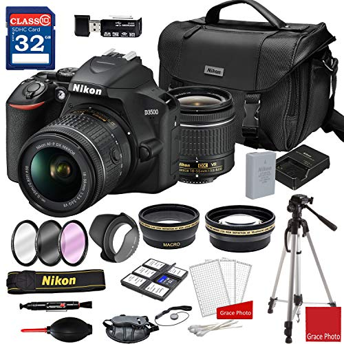 Nikon D3500 DSLR Camera with AF-P DX NIKKOR 18-55mm f/3.5-5.6G VR Lens + Nikon DSLR Camera Case + 32GB Memory Bundle (24pcs) (The Best Nikon Dslr Camera)