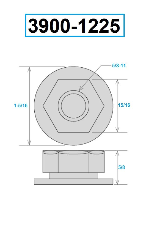 5//8-11 Steel HHIP 3900-1225 Flanged Nut