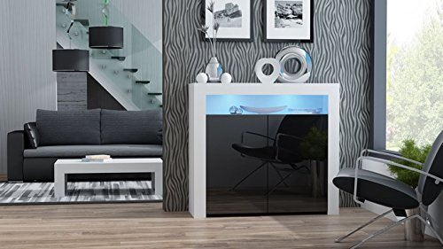 Concept Muebles MILANO Sideboard 2D – Two High Gloss finish doors and one upper shelf with modern LED illumination (White & Black) - Concepts Black Rectangular Rug