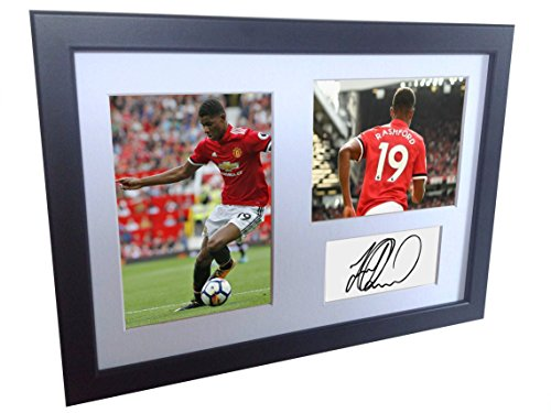 Signed Black Soccer Marcus Rashford Manchester United Autographed Photo Photographed Picture Frame A4 12x8 Football Gift by kicks